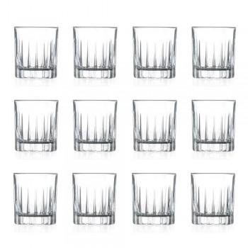 12 Copos de Licor em Eco Cristal com Decoração Linear - Senzatempo