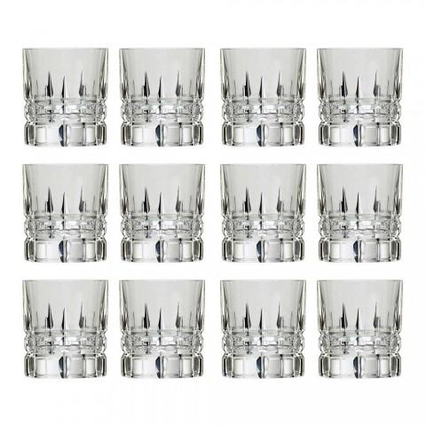 12 Copos de Whisky Basso Double Old Fashioned Tumbler em Cristal - Fiucco
