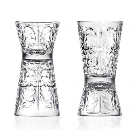 12 Copos Jigger Decorados de Luxo em Cristal Ecológico - Destiny