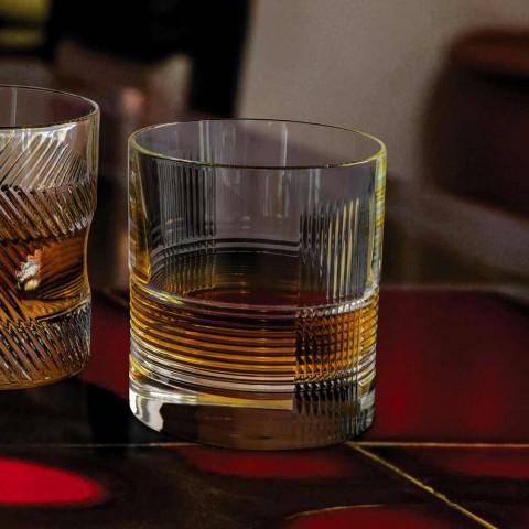 12 Copos para Água ou Whisky Design Vintage em Cristal Decorado - Tátil