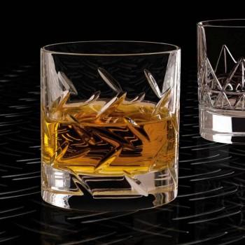 12 Copos de Whisky ou Água em Eco Cristal com Decoração Moderna - Arritmia