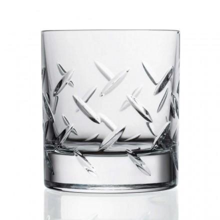 12 Copos de Uísque ou Água em Eco Cristal com Decoração Preciosa - Arritmia