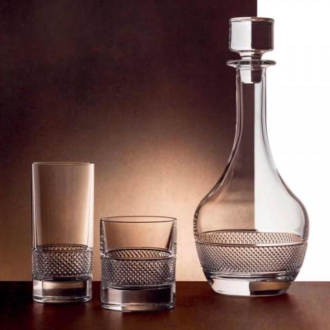 12 copos altos em cristal ecológico com decoração luxuosa - Milito