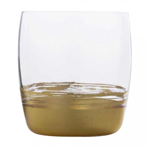 12 copos baixos para água com folha de ouro, platina ou bronze - Soffio