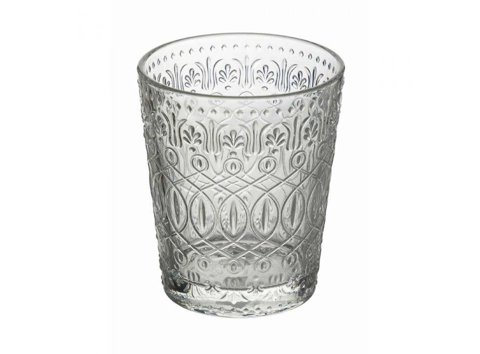 12 Copos para Água em Vidro Transparente Decorado - Maroccóbico