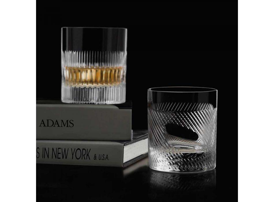 12 copos de uísque ou água em eco cristal decorado com design vintage - tátil