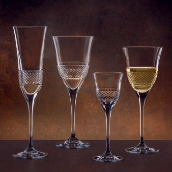 12 taças de vinho tinto em eco cristal elegante design decorado - Milito
