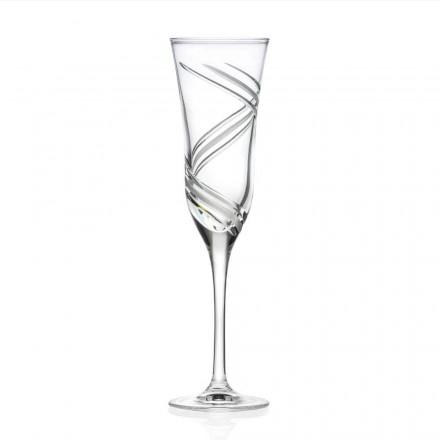12 taças para taças de champanhe em cristal ecológico decorado feito na Itália - ciclone