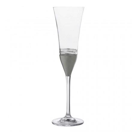 12 taças de cristal de flauta com folha de ouro, bronze ou platina, luxo - Soffio