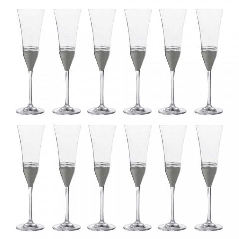 12 Taças de Flauta de Cristal com Folha de Ouro Bronze ou Platina - Soffio