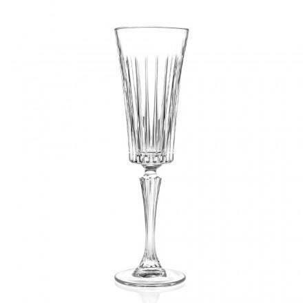 Taças 12 flautas para espumante com decoração de cortes lineares em Eco Cristal - Senzatempo