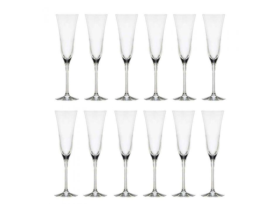 12 copos de flauta em design minimalista de cristal ecológico luxuoso - suave