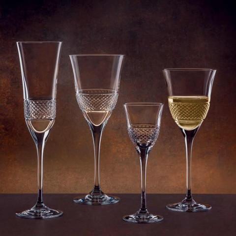 12 Taças Flauta para Champanhe em Cristal Ecológico com Decoração Manual - Milito