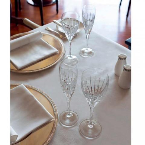 12 Copos de Vinho Branco Decorados à Mão em Cristal Ecológico de Luxo - Voglia