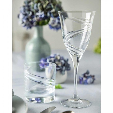 12 Copos para Vinho Branco em Cristal Ecológico Decorado e Satinado - Ciclone
