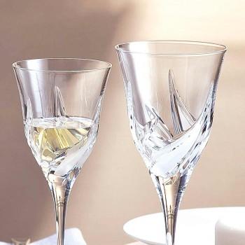 12 Copos de vinho branco de design luxuoso em Eco Cristal Decorado à Mão - Advento