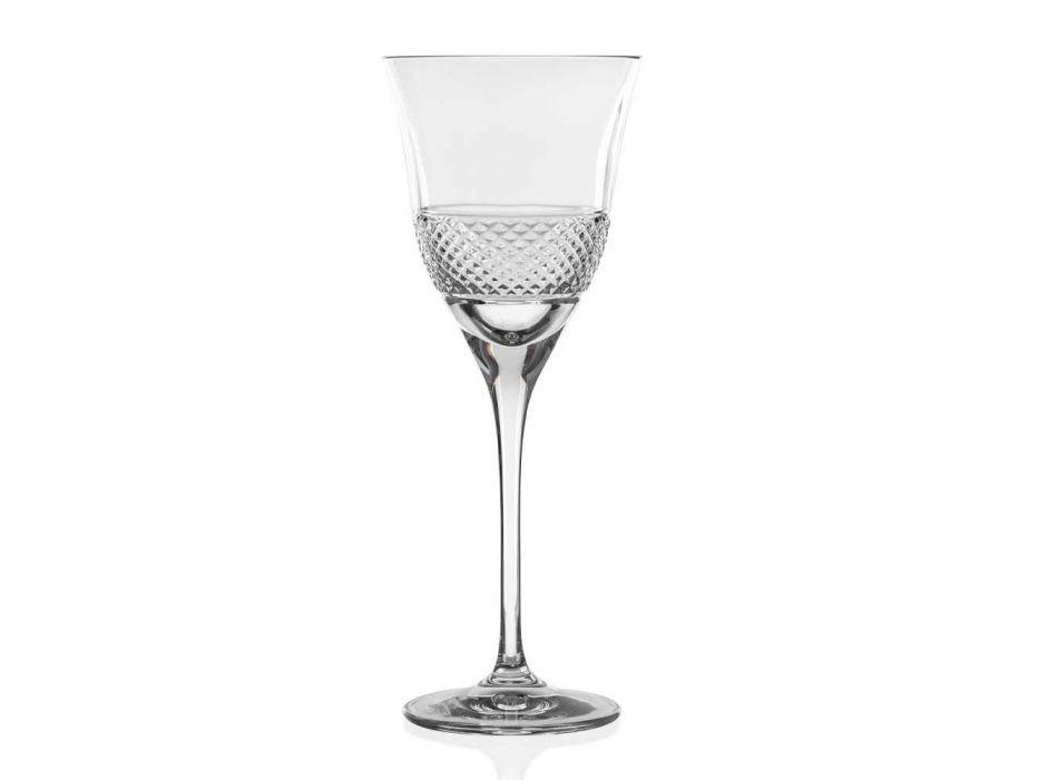 12 Taças de Vinho Branco em Cristal Ecológico Design de Luxo Decorado - Milito