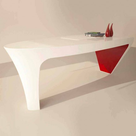 Mesa de escritório design contemporâneo de superfície sólida Ashe, made in Italy