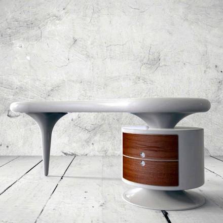 Mesa de escritório de design moderno Bean, disponível em branco, vermelho ou preto