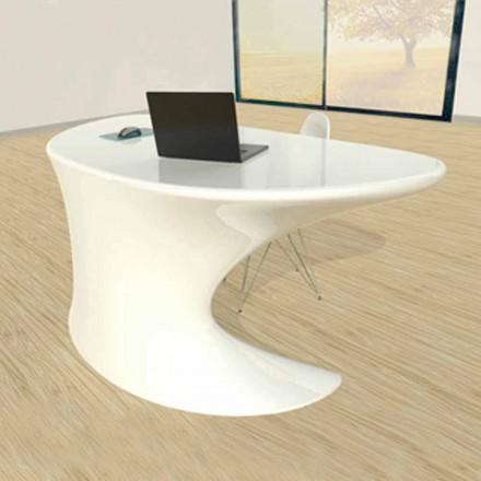 Mesa de escritório design moderno Cobra, disponível em branco, azul ou cinza