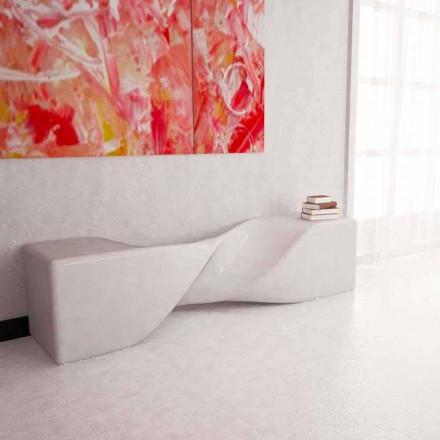 Design moderno banco de superfície sólida Bobby, artesanais na Itália