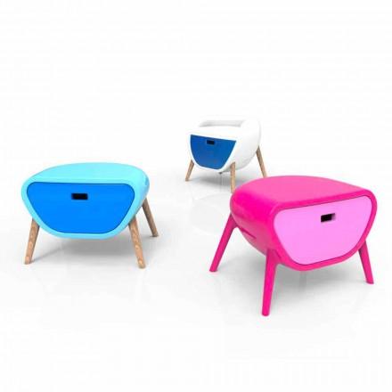 Mesa de cabeceira de design moderno Solid Surface Little Gauche, made in Italy