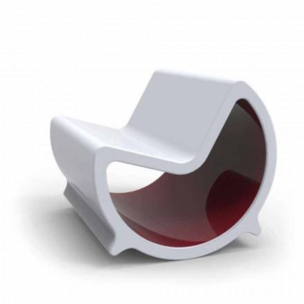 Design moderno Solid Surface 2 lugares balançando sofá Moon, made in Italy