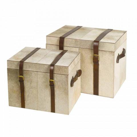 2 troncos de design em pônei cinza Ritini, grandes e pequenos