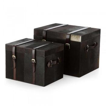 2 troncos de design em pônei marrom escuro de Ceskini, grandes e pequenos