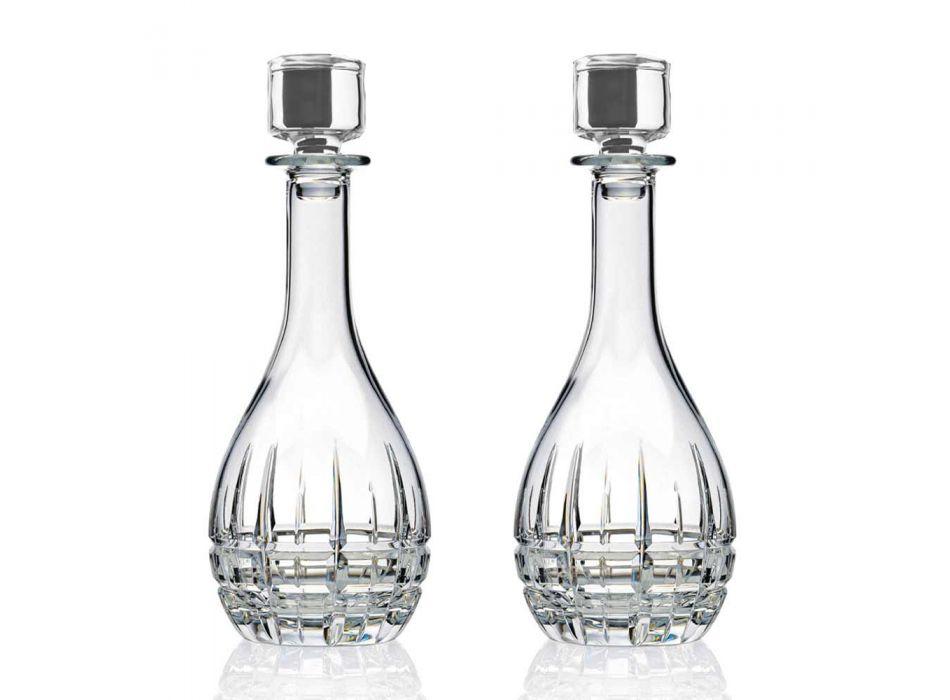 2 Garrafas com Rolha de Vinho Design Redondo em Cristal Decorado - Fiucco