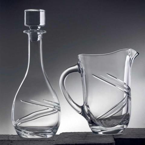 2 Garrafas de Vinho e Tampa de Luxo Decorada à Mão Eco Cristal - Ciclone