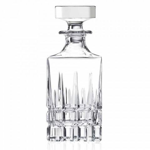 2 garrafas de uísque com tampa de cristal design quadrado com tampa - Fiucco
