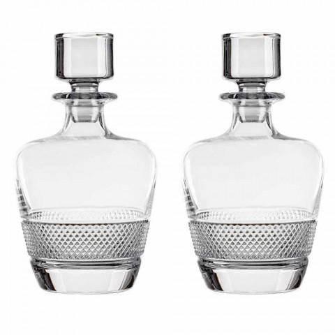 2 Garrafas de Uísque Decoradas em Cristal Ecológico Elegante Design - Milito