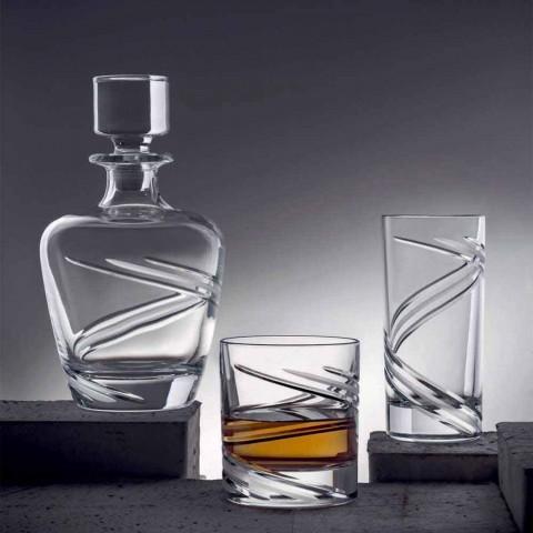 2 Garrafas de Whisky em Cristal Ecológico Artisan Italiano - Ciclone