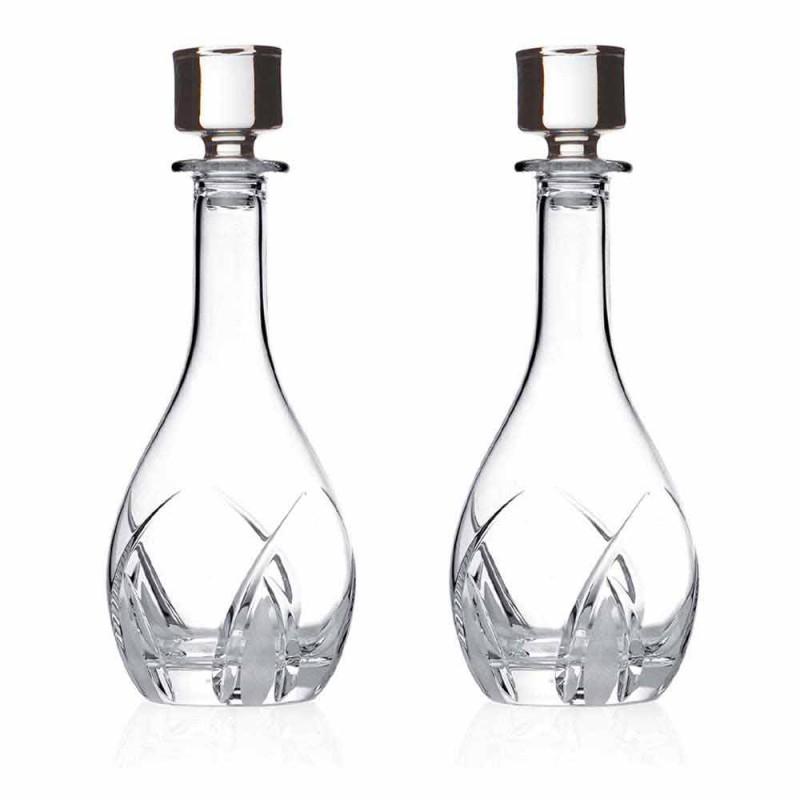 2 Garrafas de Vinho com Tampas Redondas Design em Eco Cristal - Montecristo