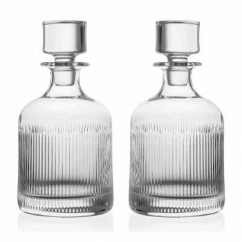 2 garrafas de uísque com tampa de cristal ecológica com design vintage - tátil