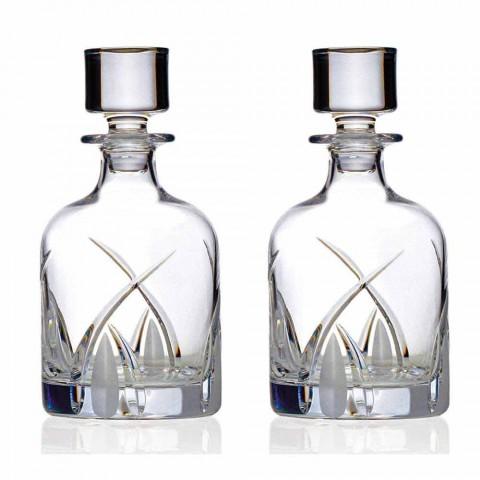 2 Garrafas de Whisky com Tampa Cilíndrica Design em Eco Cristal - Montecristo