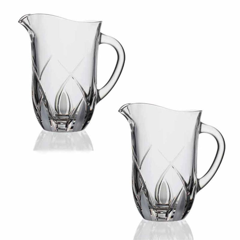 2 Jarros de água de cristal ecológico com design luxuoso decorado à mão - Montecristo