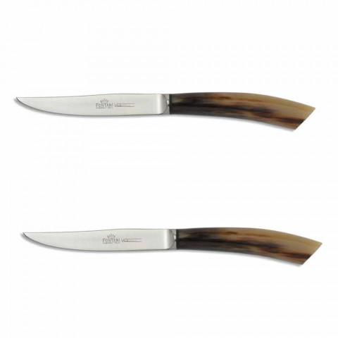 2 Facas de Bife com Chifre ou Cabo de Madeira Fabricado na Itália - Marino