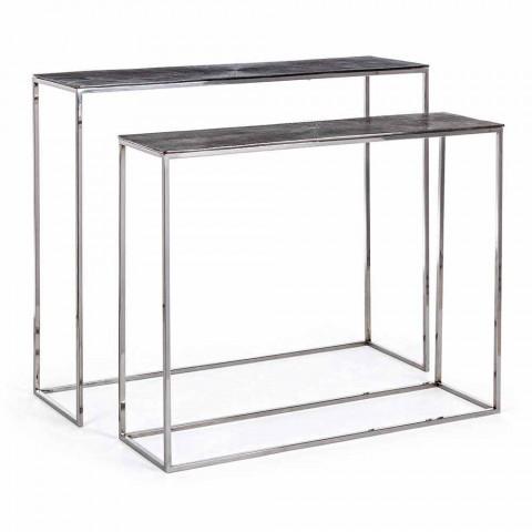 2 Consoles em Aço e Alumínio Cromado Moderno Design Homemotion - Narnia