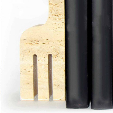 2 suportes para livros em mármore travertino em forma de girafa Made in Italy - Morra