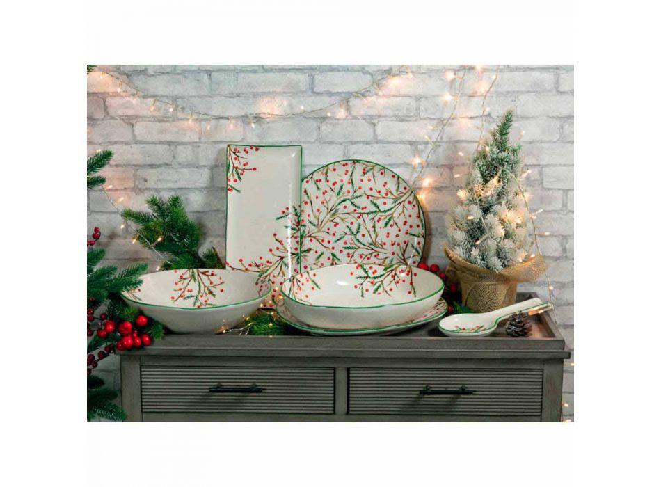 2 saladeiras com enfeites de Natal em travessas de porcelana - vassoura de açougueiro