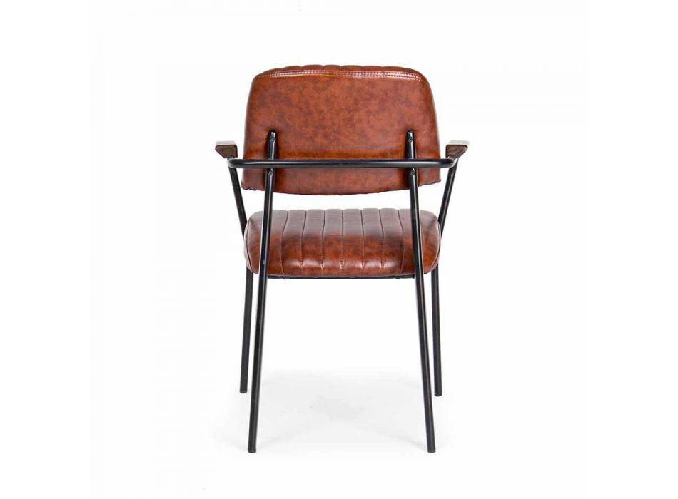 2 Cadeiras com Apoio de Braços em Leatherette Vintage Effect Homemotion - Clare