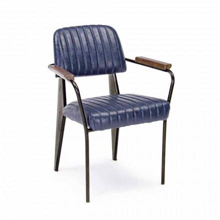 2 cadeiras homemotion em couro com efeito vintage e apoios de braço - Clare