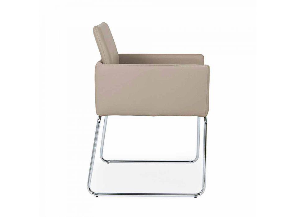 2 Cadeiras com Apoio de Braços Revestidos de Couro com Design Moderno Homemotion - Farra