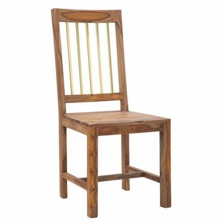 Par de 2 cadeiras de cozinha de design totalmente em madeira - Sandy
