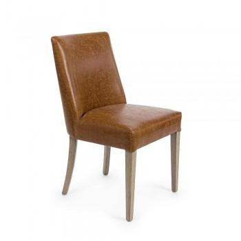 2 Cadeiras Design em Couro Marrom e Carvalho Homemotion - Gallia