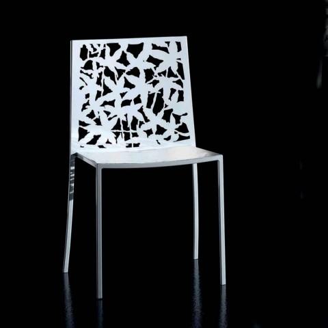 2 cadeiras de metal branco esculpidas a laser de design moderno - Patatix