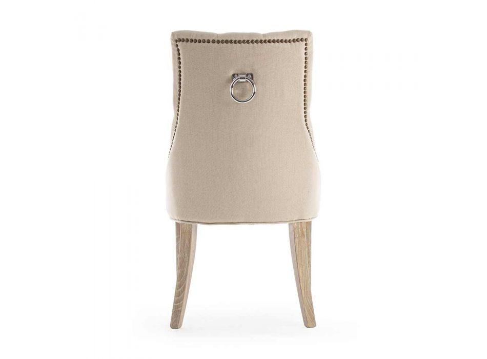 2 Cadeiras Modernas de Linho com Estrutura em Madeira Carvalho Homemotion - Barna