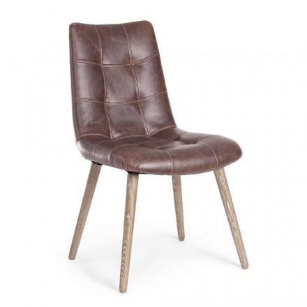 2 Cadeiras Estilo Industrial Moderno Cobertas em Couro Homemotion - Riella